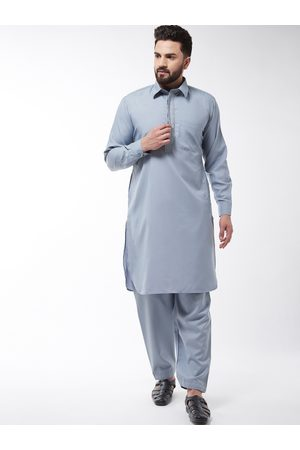 SOJANYA Men Grey Embroidered Kurta with Salwar