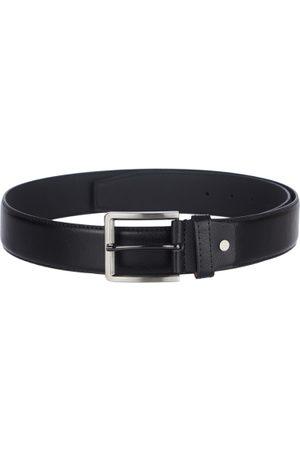 KARA Men Black Smart Casual Textured Faux Leather Belt