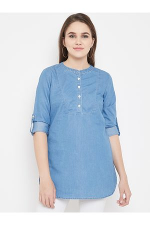 Ruhaans Ruhaan's Womens Blue Color Solid Tunic in Denim Fabric