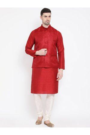 NAMASKAR Men Red & White Self Design Kurta with Churidar