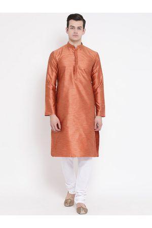 NAMASKAR Men Orange & White Self Design Kurta with Churidar