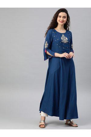 Yash Gallery Women Blue Embroidered A-Line Kurta