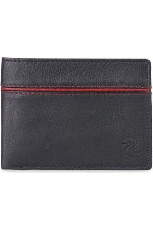 KARA Men Black Leather Solid Two Fold Wallet