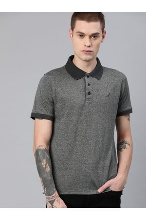 American Crew Men Charcoal Grey Solid Polo Collar T-shirt