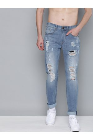 HERE&NOW Men Blue Slim Fit Low-Rise Highly Distressed Jeans
