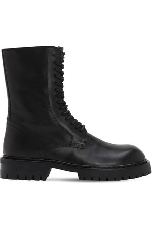 ANN DEMEULEMEESTER Women Boots - 30mm Brushed Leather Combat Boots