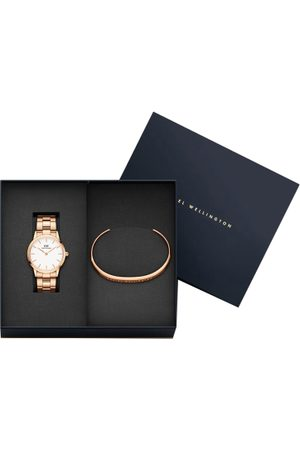 Daniel Wellington Unisex Rose Gold-Toned & White Watch With Cuff Bracelet Gift Set