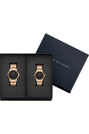 Daniel Wellington Set of 2 Rose Gold-Toned & Black Couple Watch Gift Set
