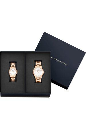 Daniel Wellington Set of 2 Rose Gold-Toned & White Couple Watch Iconic Link Gift Set