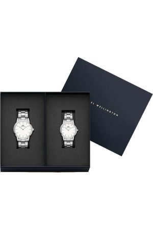 Daniel Wellington Set of 2 Silver-Toned & White Stainless Steel Couple Watch Gift Set