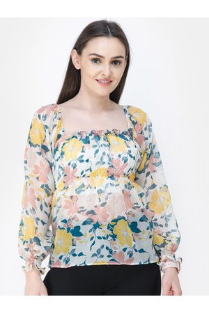Cation Women White Printed Empire Top