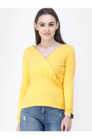 Cation Women Yellow Solid Wrap Top