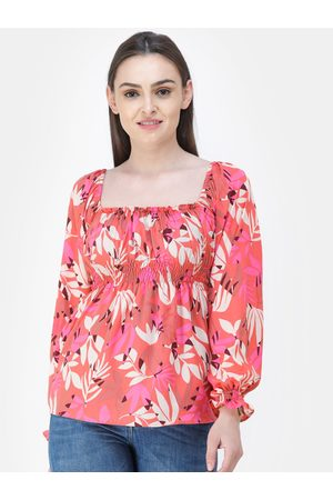 Cation Women Coral Pink Printed Empire Top
