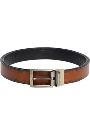 Louis Philippe Men Brown & Black Solid Reversible Leather Belt