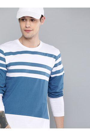 HERE&NOW Men Long Sleeve - Men White & Blue Striped Round Neck T-shirt