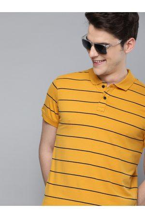 Mast & Harbour Men Mustard Yellow & Black Striped Polo Collar T-shirt