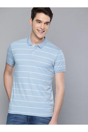 Mast & Harbour Men Blue & White Striped Polo Collar T-shirt