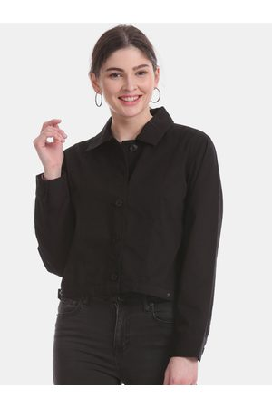 Aeropostale Women Black Solid Tailored Jacket