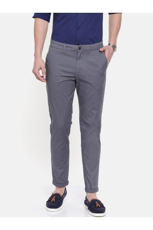 Selected Men Grey Slim Fit Solid Regular Trousers