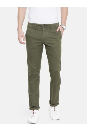 Selected Men Olive Green Grey Solid Slim Fit Chinos