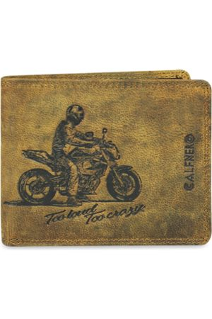 CALFNERO Men Brown Printed Two Fold Leather Wallet