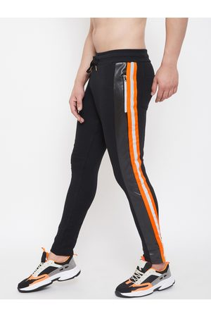 FUGAZEE Men Black & Orange Colourblocked Slim-Fit Reflective Joggers