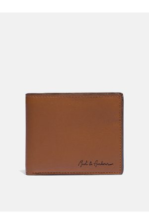 Mast & Harbour Men Tan-Brown Solid Leather Two Fold Wallet