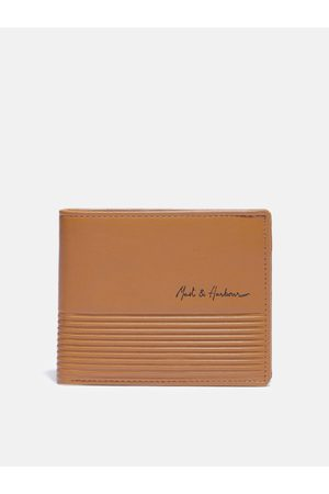 Mast & Harbour Men Tan Brown Solid Leather Two Fold Wallet