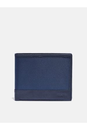 Roadster Men Navy Blue Textured Leather Two Fold Wallet