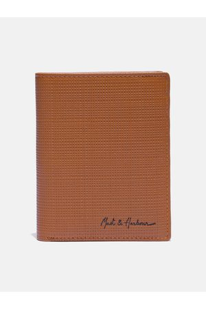 Mast & Harbour Men Tan-Brown Textured Leather Two Fold Wallet