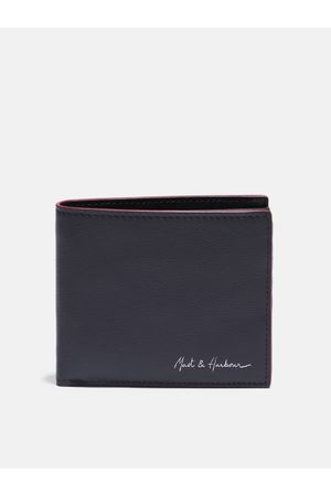 Mast & Harbour Men Navy Blue Solid Leather Two Fold Wallet