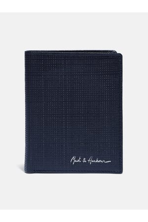 Mast & Harbour Men Navy Blue Textured Leather Two Fold Wallet