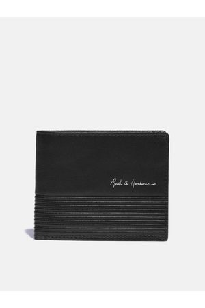 Mast & Harbour Men Black Solid Leather Two Fold Wallet