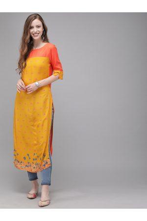 Anouk Women Mustard Yellow & Orange Colourblocked Straight Kurta