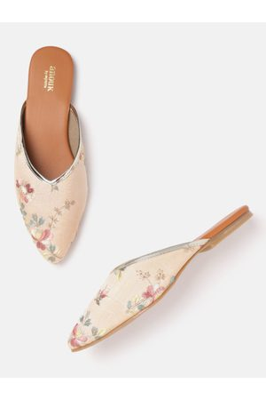 Anouk Women Peach-Coloured Floral Embroidered Mules