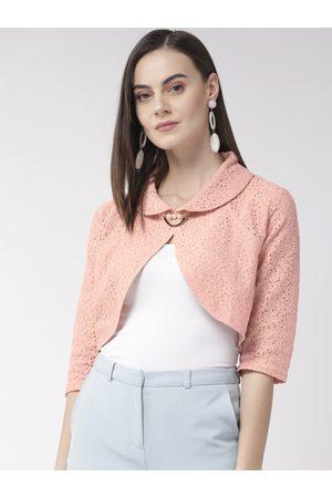Style Quotient Women Pink Self Design Crop Shrug