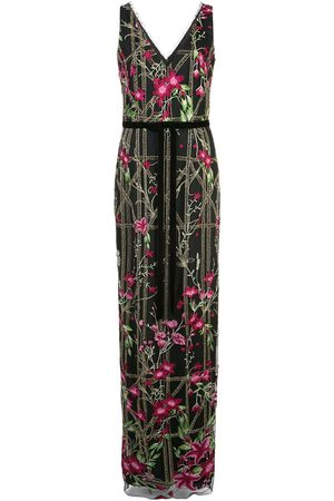 Marchesa Notte Beaded embroidered long dress