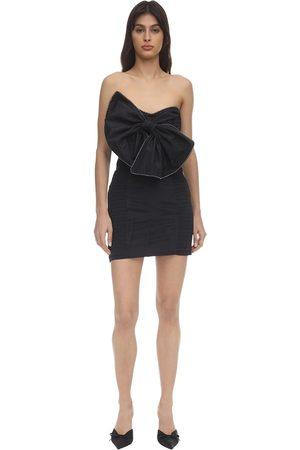 For Love & Lemons Celeste Moiré Bow Mini Dress