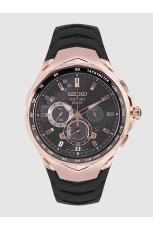 Seiko Men Black Analogue Tachymeter Watch SSC768P1