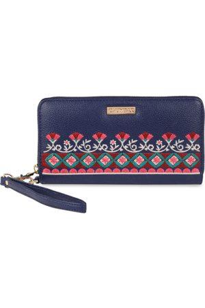 Chumbak Women Navy Blue Solid Zip Around Wallet
