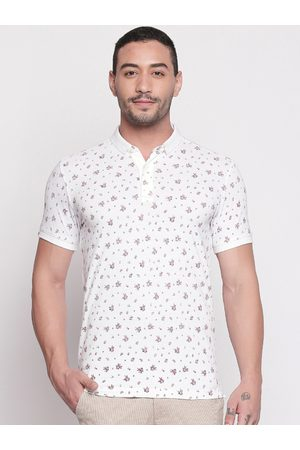 Mufti Men White & Red Printed Polo Collar T-shirt