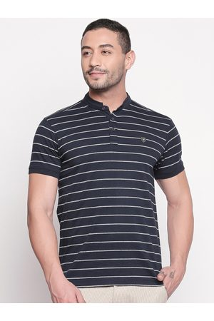 Mufti Men Navy Blue & White Striped Mandarin Collar T-shirt