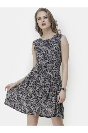 SCORPIUS Women Navy Blue & Beige Butterfly Printed Fit and Flare Dress
