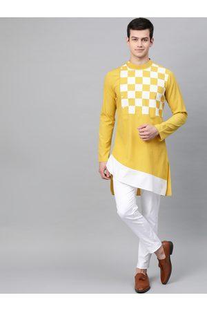 See Designs Men Mustard Yellow & White Yoke Design Asymmetric Hemline Straight Kurta