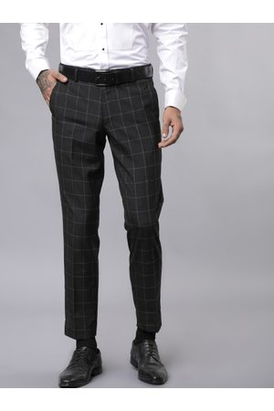 Black coffee Men Black & Grey Slim Fit Checked Formal Trousers