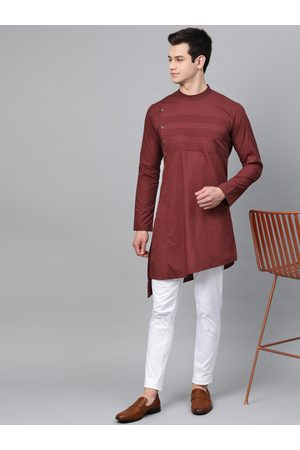 See Designs Men Burgundy Yoke Design Straight Asymmetric Kurta