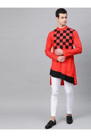 See Designs Men Red & Black Yoke Design Asymmetric Straight Kurta