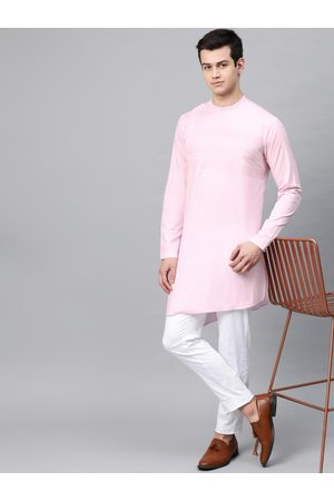See Designs Men Pink Yoke Design Straight Kurta