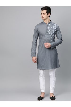 See Designs Men Charcoal Grey Solid Straight Kurta