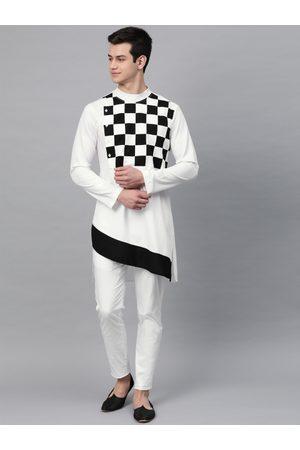 See Designs Men White & Black Yoke Design Straight Kurta